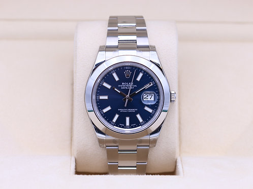 Rolex DateJust II 116300 Blue Roman Dial Stainless - Box & Papers
