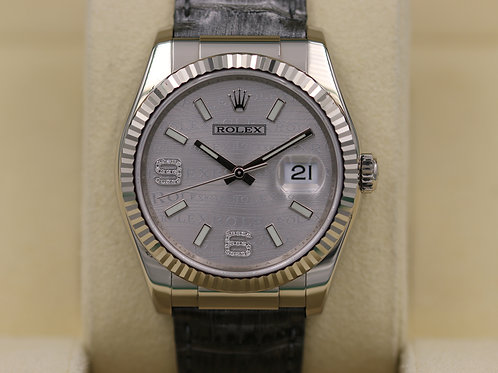 Rolex DateJust 116139 18K White Gold Silver Jubilee Diamond Dial - Box & Papers!