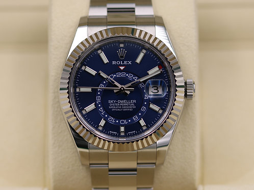 Rolex Sky-Dweller 326934 Stainless/White Gold Blue Dial - 2017 Box & Papers