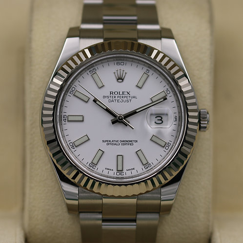 Rolex DateJust II 116334 41mm White Dial - Box & Papers
