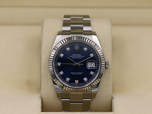Rolex DateJust 41 126334 Blue Diamond Dial Oyster - Box & Papers