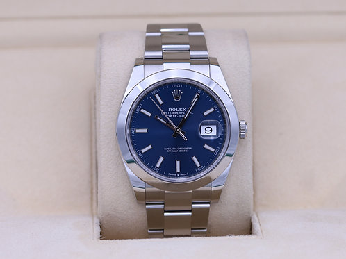 Rolex DateJust 41 126300 Blue Stick Dial Smooth Bezel - 2019 Box & Papers