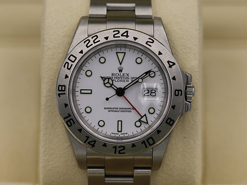 "Rolex Explorer II 16570 White Dial ""Polar"" Y Serial Holes Case & SEL - NOS!"
