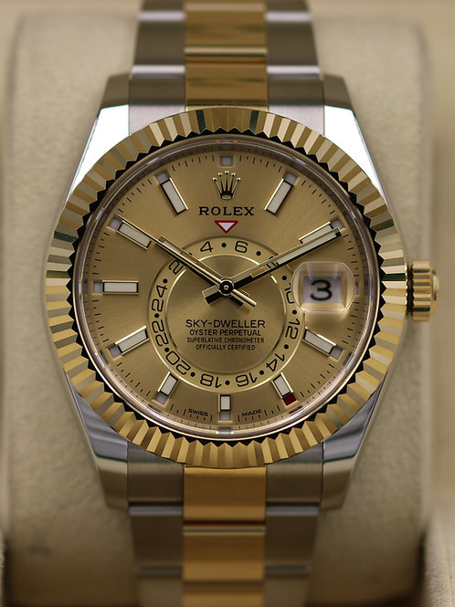 Rolex Sky-Dweller 326933 Two-Tone Champagne Dial - 2019 Box & Papers