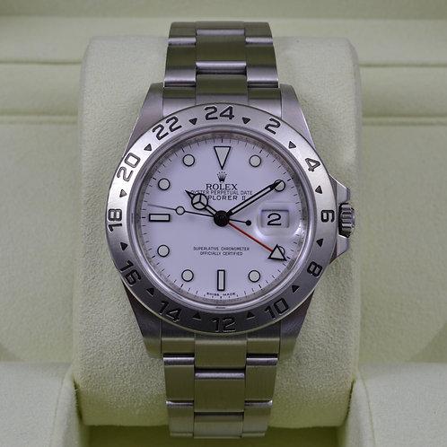 Rolex Explorer II 16570 White Dial - No Holes 3186 G Serial - Box & Papers!
