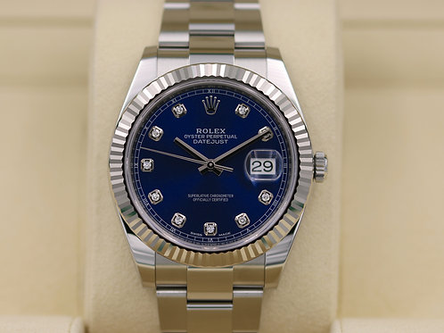 Rolex DateJust 41 126334 Oyster Blue Diamond Dial 41mm - 2017 Box & Papers