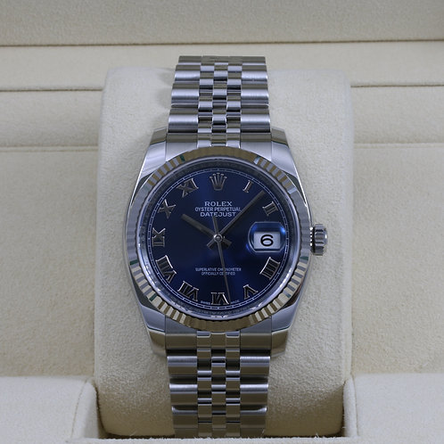 Rolex DateJust 116234 Blue Roman Dial 36mm - 2017 Box & Papers