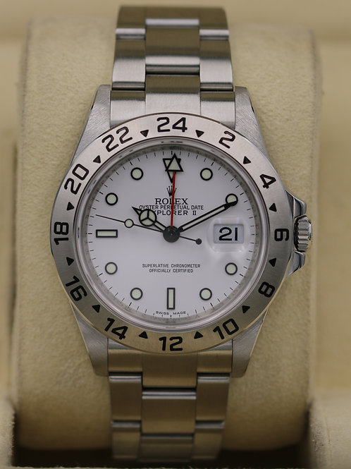 Rolex Explorer II 16570 White Dial - V Serial 3186 Movement - Box & Papers