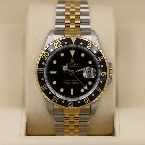 Rolex GMT Master II 16713 Two Tone Black Dial Jubilee - Box & Papers