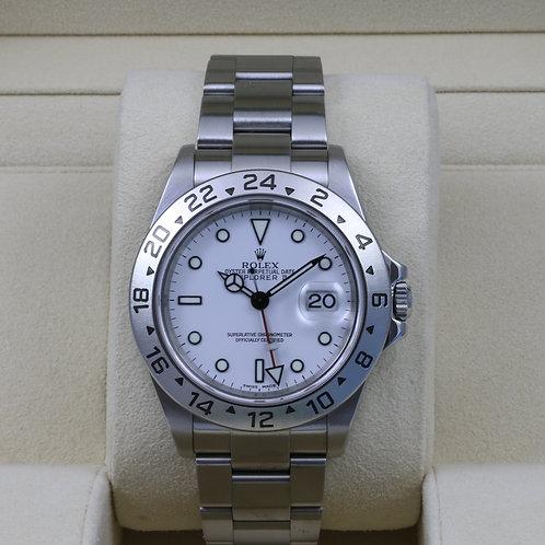 """Rolex Explorer II 16570 White Dial """"Polar"""" No Holes Case - F Serial"""