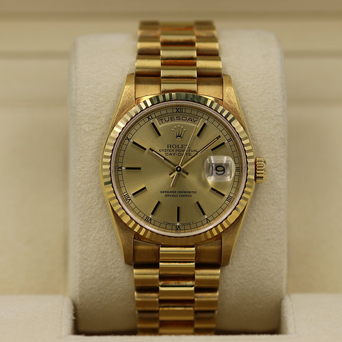 Rolex Day-Date 18238 18K Gold Double Quickset - A Serial - Box & Papers