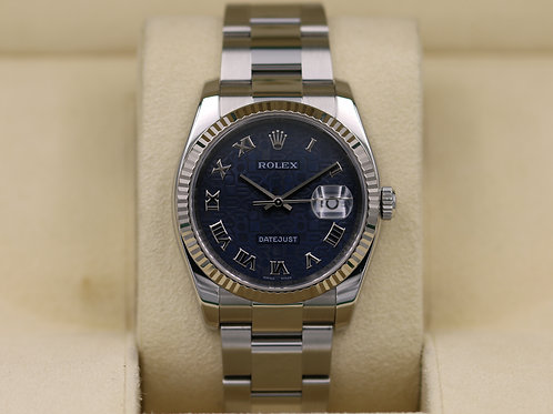 Rolex DateJust 116234 36mm Blue Jubilee Dial -  Box & Papers