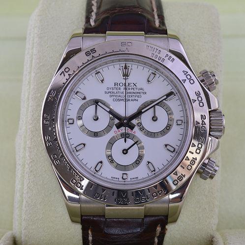 Rolex Daytona 116519 18K White Gold on Leather