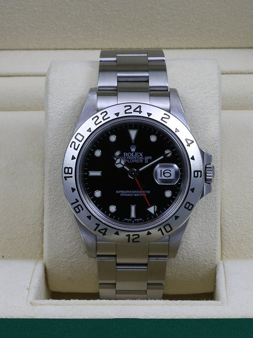 Rolex Explorer II 16570 Black Dial - No Holes Case SEL - Y Serial