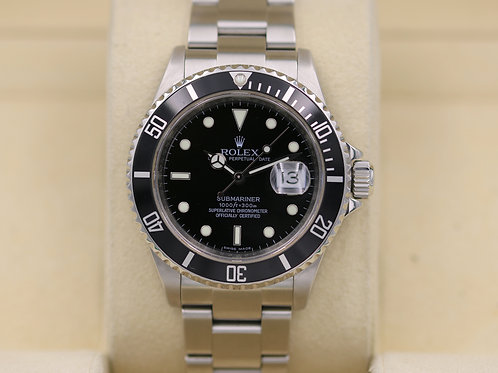 Rolex Submariner 16610 Date Stainless - M Serial No Holes Engraved Box & Papers