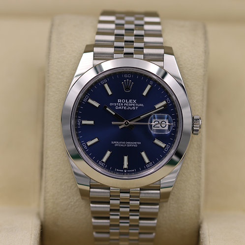 Rolex DateJust 41 126300 Blue Dial Smooth Bezel - 2019 Box & Papers