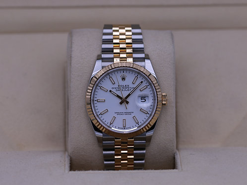 Rolex DateJust 36 126233 Two Tone Jubilee White Stick Dial