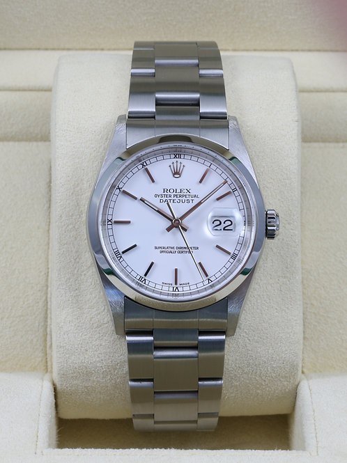 Rolex DateJust 16200 White Dial - K Serial Box & Papers