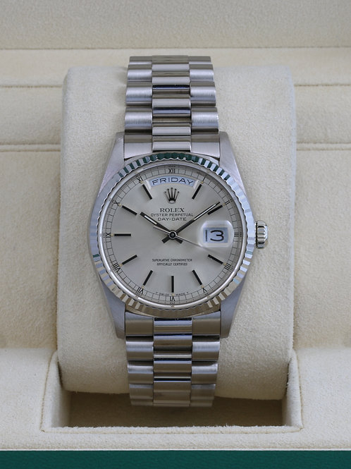 Rolex Day-Date 18239 18K White Gold - Double Quickset - L Serial