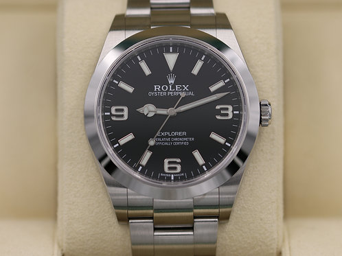 Rolex Explorer I 214270 39mm FULL LUME DIAL Stainless - 2017 Box & Papers
