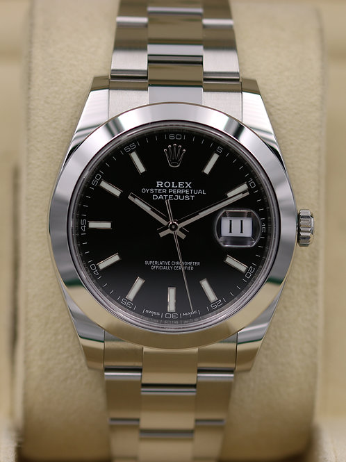 Rolex DateJust 41 126300 Black Dial Smooth Bezel - 2018 Box & Papers