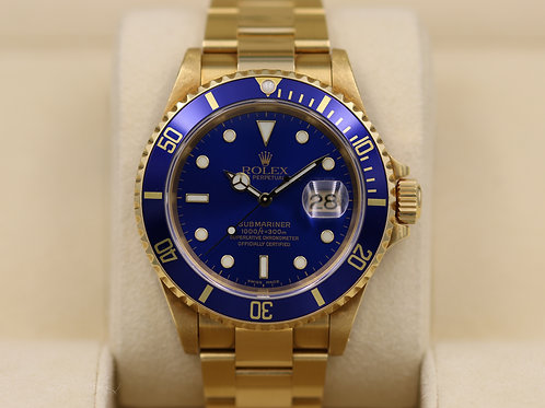 Rolex Submariner 16618 Blue Dial - A Serial Holes Case Flat 4  - Box & Papers