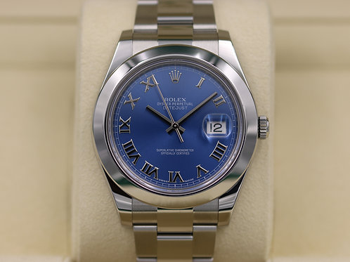 Rolex Datejust II 116300 41mm Blue Roman Dial Stainless - 2016 Box & Papers!
