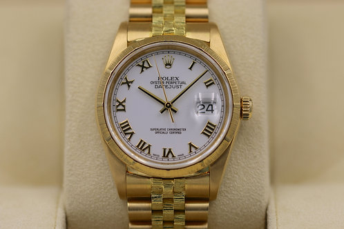 Rolex DateJust 16248 Barked 18K Gold Jubilee White Roman Dial - A Serial