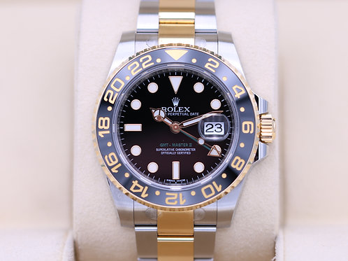 Rolex GMT Master II 116713 Two Tone Black Dial - Box & Papers