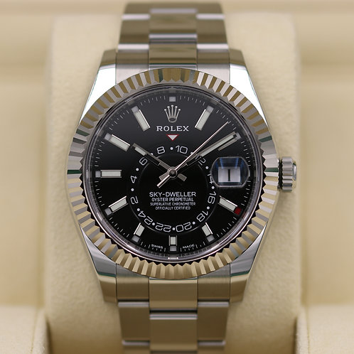 Rolex Sky-Dweller 326934 Stainless/White Gold Black Dial - 2018 Box & Papers