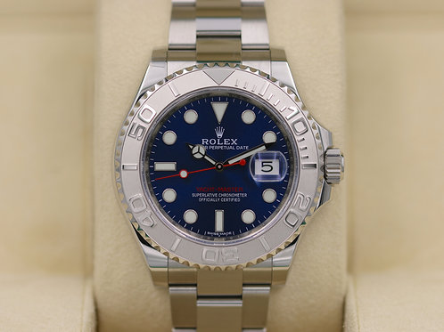 Rolex Yacht-Master 116622 Blue Dial SS Platinum Bezel - 2018 Box & Papers!