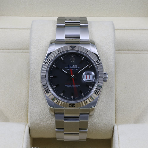 Rolex DateJust Turn-O-Graph 116264 Black Dial - Z Serial - Box & Papers