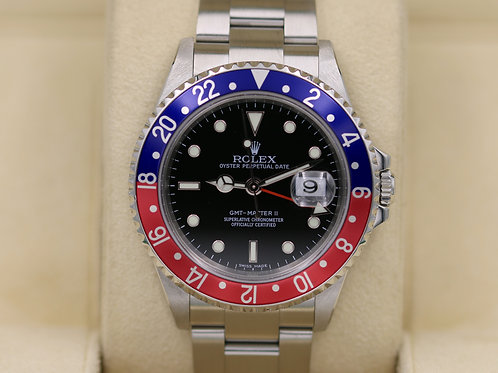 Rolex GMT Master II 16710 Pepsi - D Serial Stick Dial - Box & Papers