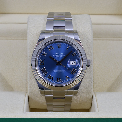 Rolex DateJust II116334 Blue Roman Dial 41mm - NEW
