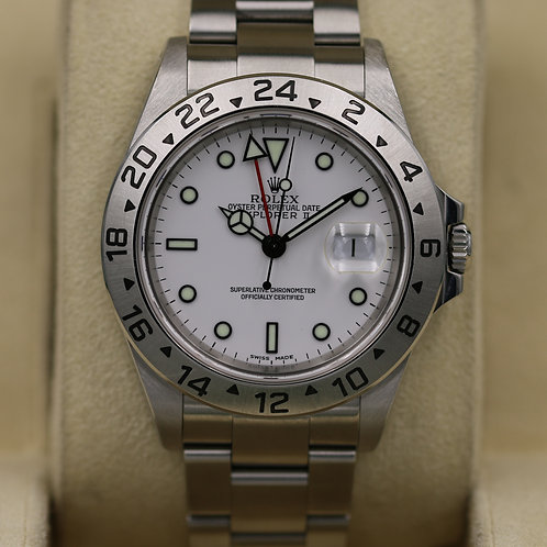 Rolex Explorer II 16570 White Dial - Holes Case & SEL - Box & Papers