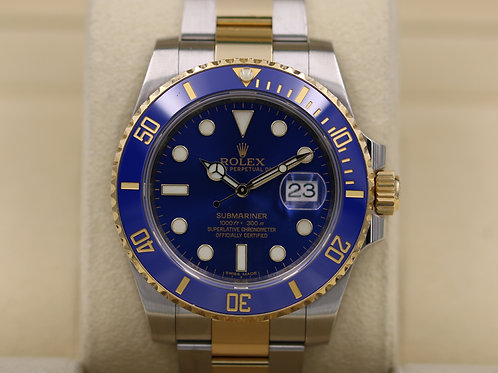 Rolex Submariner 116613 Two Tone Blue Dial Ceramic 18K/SS - 2015 Box & Papers!
