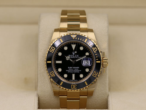 Rolex Submariner 116618LN Yellow Gold Black Dial - 2018 Box & Papers