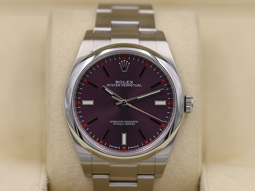 Rolex Oyster Perpetual 114300 Red Grape Dial 39mm Stainless - Box & Papers