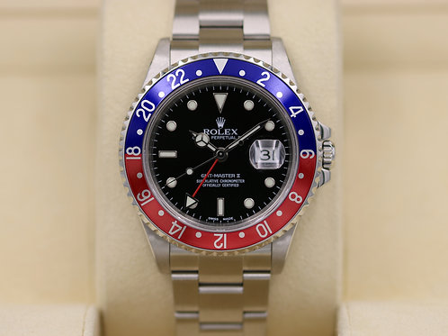 Rolex GMT Master II 16710 Pepsi Bezel - F Serial No Holes Case - Box & Papers!