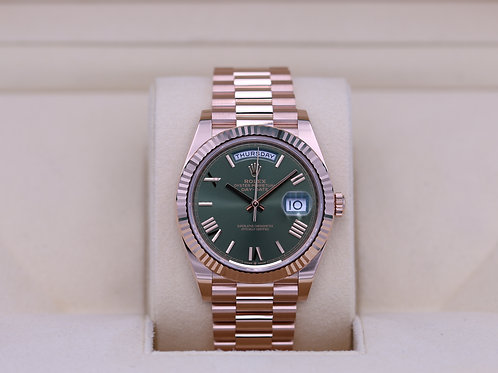 Rolex Day-Date 40 228235 Rose Gold Olive Green Dial - 2020 Unworn!