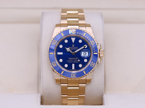 Rolex Submariner 116618LB Yellow Gold Blue Dial - 2019 Box & Papers