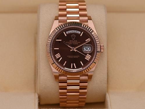 Rolex Day-Date 40 228235 Rose Gold Chocolate Dial - 2020 Unworn