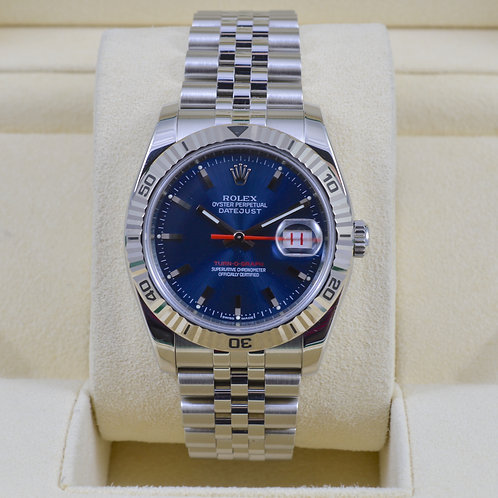 Rolex DateJust Turn-O-Graph 116264 Blue Dial - Z Serial -Box & Papers!