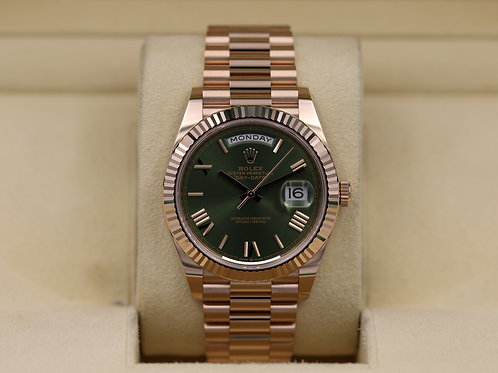 Rolex Day-Date 40 228235 Rose Gold Olive Green Dial - 2019 Unworn