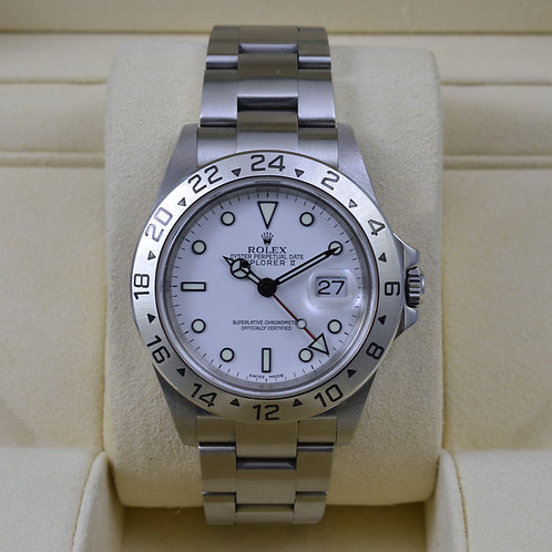Rolex Explorer II 16570 White Dial - F Serial No Holes Case