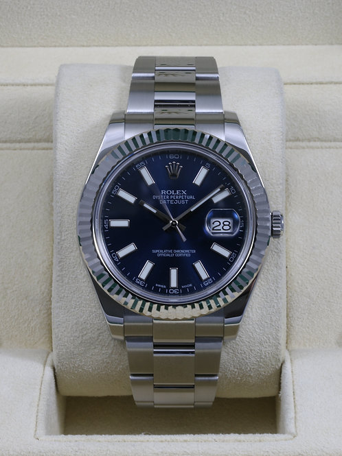 Rolex DateJust II 116334 Blue Stick Dial - Box & Papers