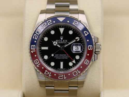 Rolex GMT Master II 116719 BLRO Pepsi 18K White Gold Red/Blue - Box & Papers!
