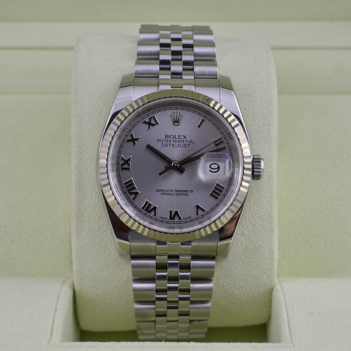 Rolex DateJust 116234 Rhodium Roman Dial - Box & Papers