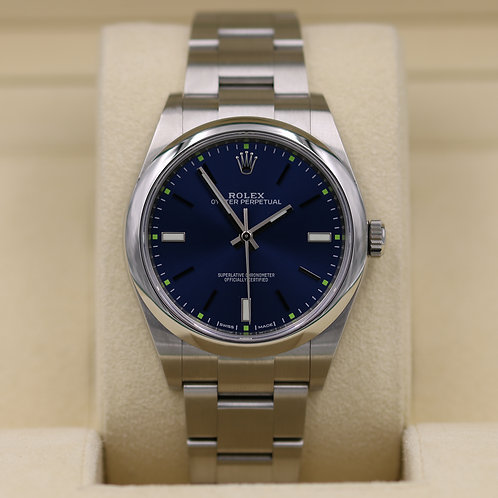 Rolex Oyster Perpetual 114300 Blue Dial 39mm Stainless - 2017 Box & Papers!