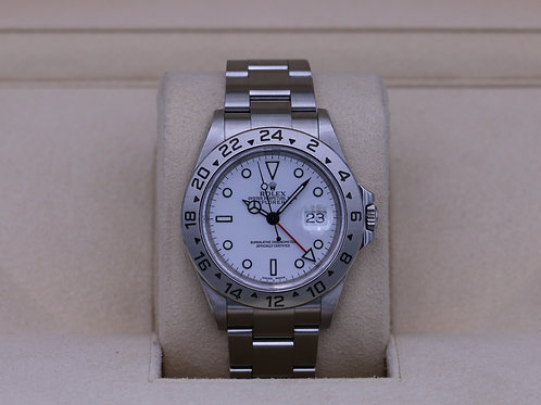 Rolex Explorer II 16570 White Dial F Serial No Holes Case - Box & Papers
